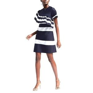Banana Republic Stripe Asymmetrical Ruffle Dress